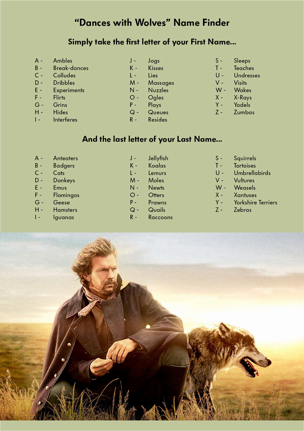 Dances With Wolves Name Finder The Poke