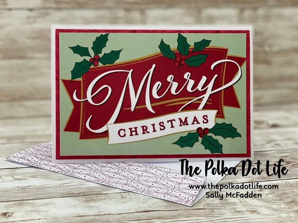 A photo of a Christmas greeting card made with Stampin' Up products.