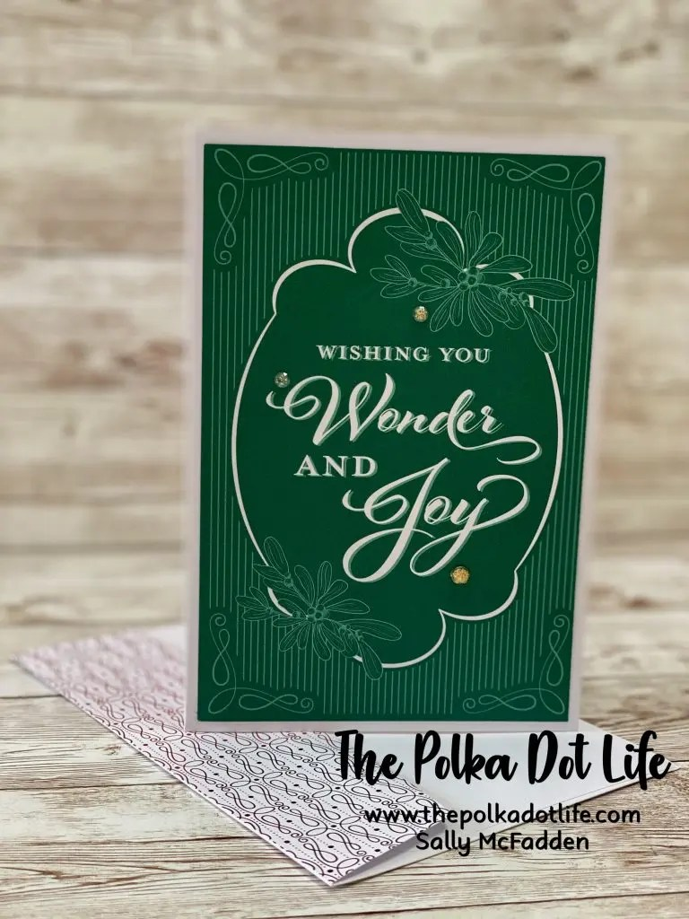 A greeting card made with the Memories & More Card Pack with a few jewels added.