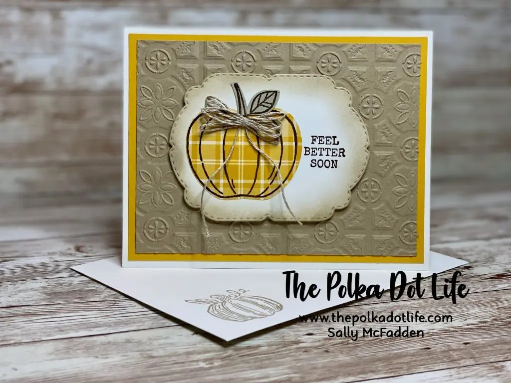 A feel better soon greeting card that features the colors of Crushed Curry, Crumb Cake, and Whisper White.  It is made with Stampin' Up products.