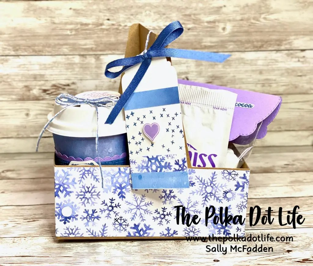 This coffee carrier and cup set is decorated in blues and purple shades.  It has a very soft look for winter.  Stampin' Up products were used.