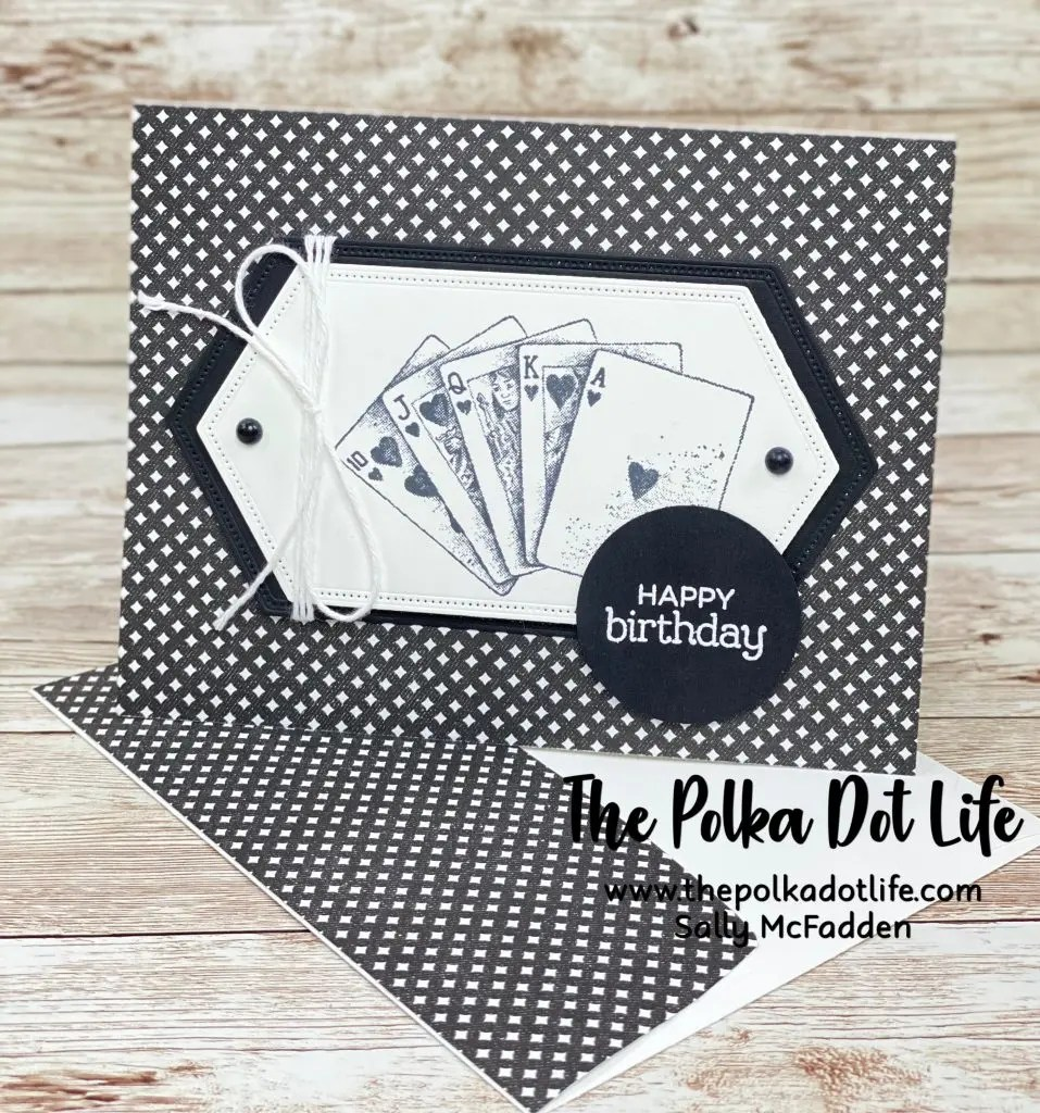 A handmade, horizontal greeting card.  It is made with the True Love Designer Series Paper by Stampin' Up.