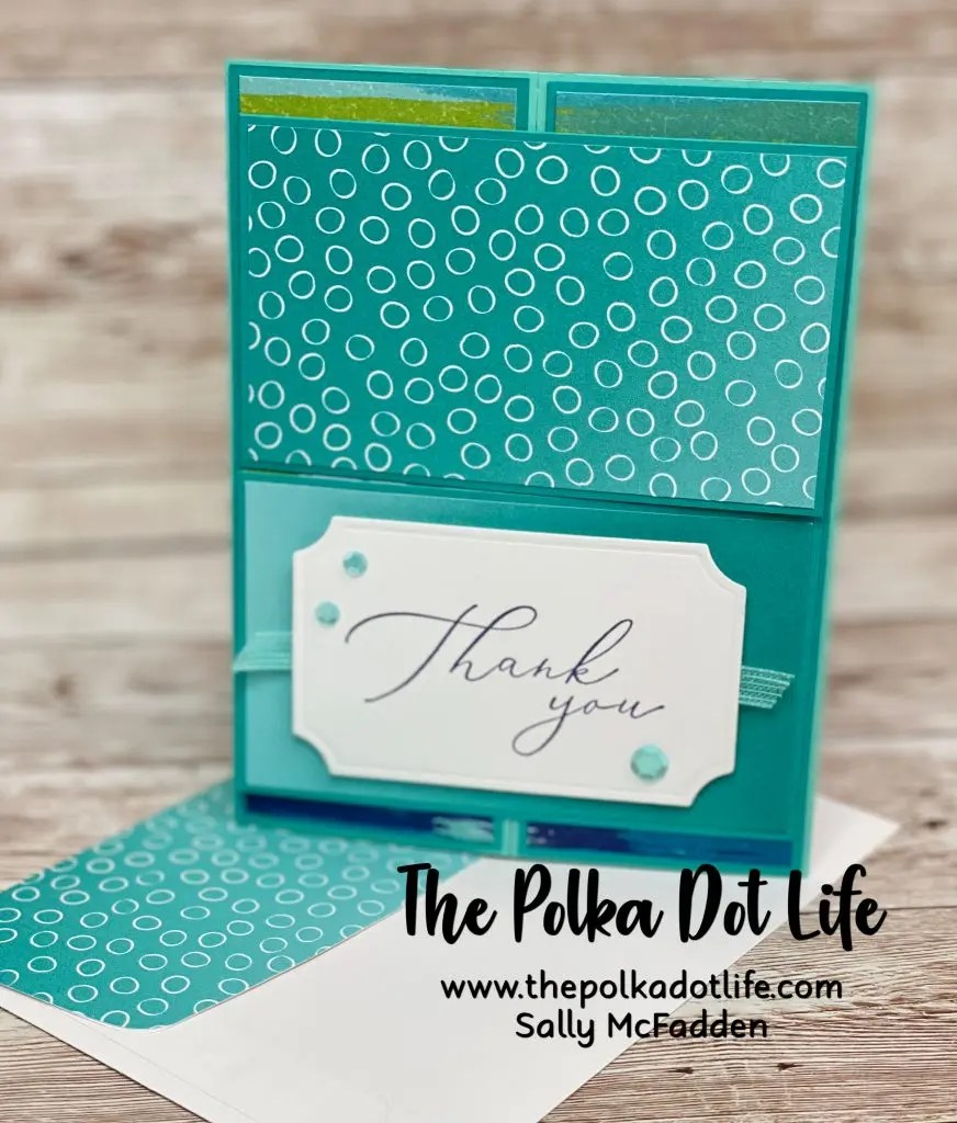 A thank you card made with the stamp set Heal Your Heart by Stampin' Up.  It also features Coastal Cabana and Bermuda Bay cardstock.