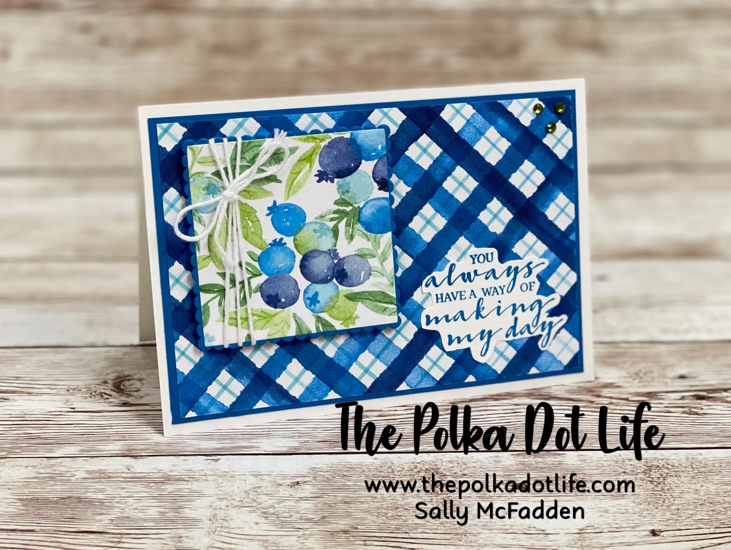 A greeting card featuring the Berry Blessings & Berry Delightful DSP by Stampin' Up. The colors are a vibrant blue and green.