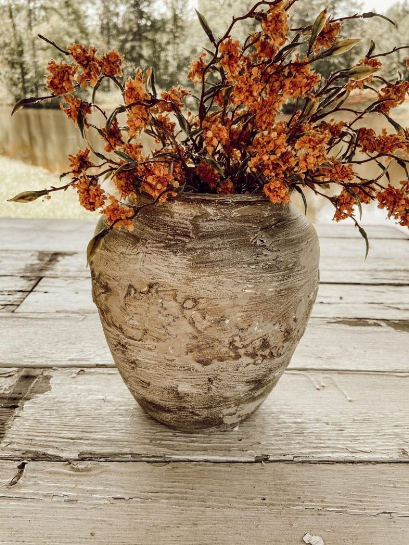 Easy DIY Faux Earthenware Vessel.  Bowl is perfect for flower arrangement, shelf styling and fall decorating.  Pottery Barn Hack.