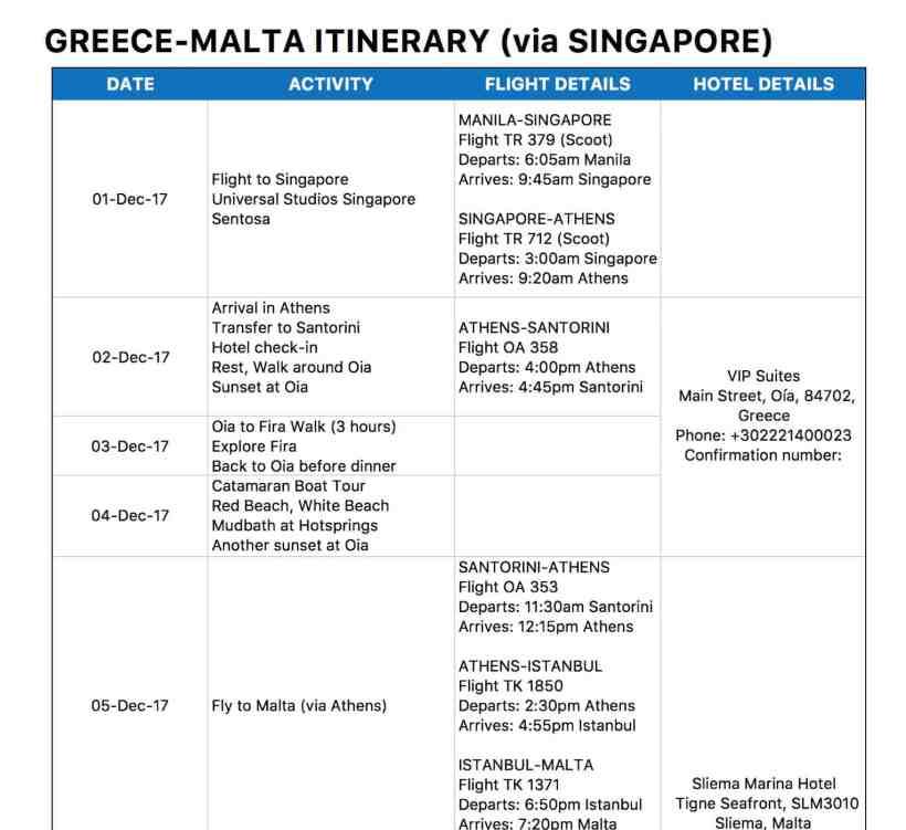 Travel Itinerary Format For Schengen Visa Myvacationplan Org