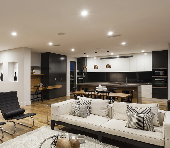 led recessed lights on the ceiling