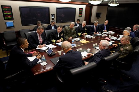 President Barack Obama holds a briefing on Afghanistan with the Joint Chiefs of Staff in the Situation Room at the White House on Oct. 30, 2009. Seated at the table clockwise from the President are NSC Advisor James L. Jones, Chairman of the Joints Chiefs of Staff  Admiral Mike Mullen, Commandant of the United States Marine Corps General James T. Conway,  Chief of Naval Operations Admiral Gary Roughead, WH Chief of Staff Rahm Emanuel, Deputy National Security Advisor Tom Donilon, Deputy National Security Advisor John Brennan, Chief of Staff of the U.S. Air Force General Norton A. Schwartz,  Chief of Staff of the Army General George W. Casey Jr., Vice Chairman of the Joint Chiefs of Staff General James E. Cartwright, Secretary of Defense William Gates, and Vice President Joe Biden (Official White House Photo by Pete Souza).