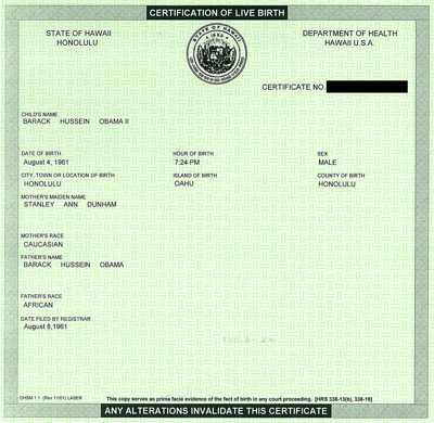 """This image was originally posted at The Daily KOS and represented  as Barack Obama's """"birth certificate"""""""