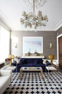 A Velvet Touch   The Potted Boxwood A deep navy blue sofa with an edge  I love the composition of this room by  Peter Mikic  Photo source  Elle Decor
