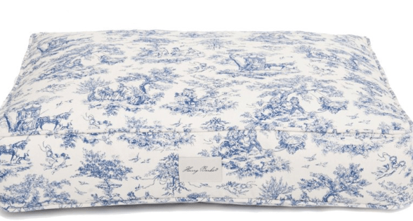Blue and White Toile Dog Bed