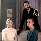 """THE HANDMAID'S TALE -- """"Seeds"""" -- Episode 205 -- Offred spirals as a Gilead ceremony disrupts her relationship with Nick. Janine tries to adjust to life in the Colonies, jeopardizing her friendship with Emily. Eden (Sydney Sweeney) from left, Commander Waterford (Joseph Fiennes) and Serena Joy (Yvonne Strahovski), shown. (Photo by: George Kraychyk/Hulu)"""