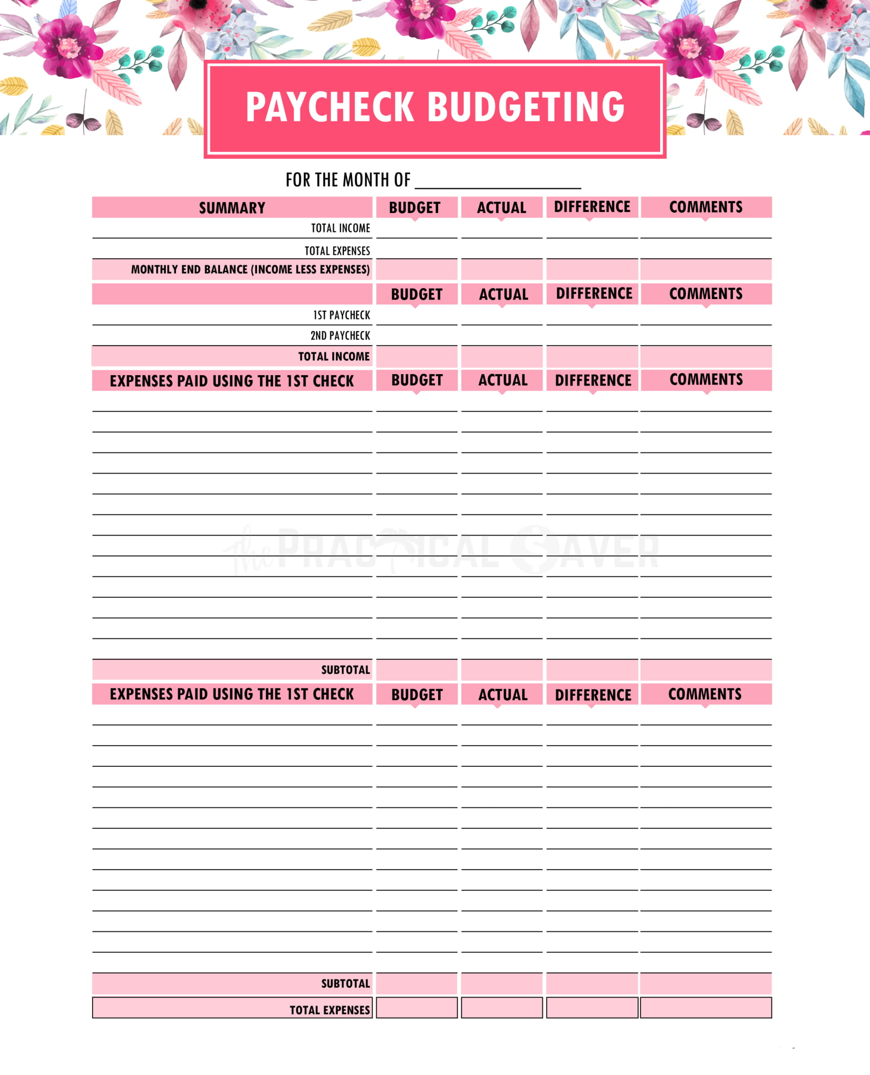 Budget Worksheet Download Free
