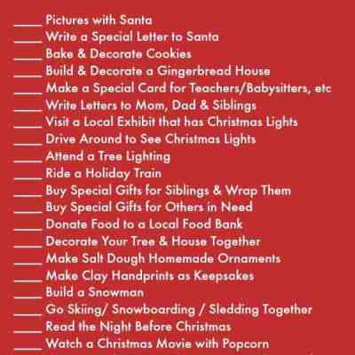 Holiday Activities List Printable for December