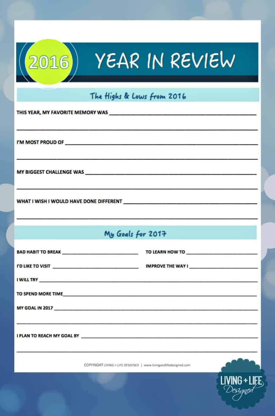 Looking Back At And Setting Goals For Printable