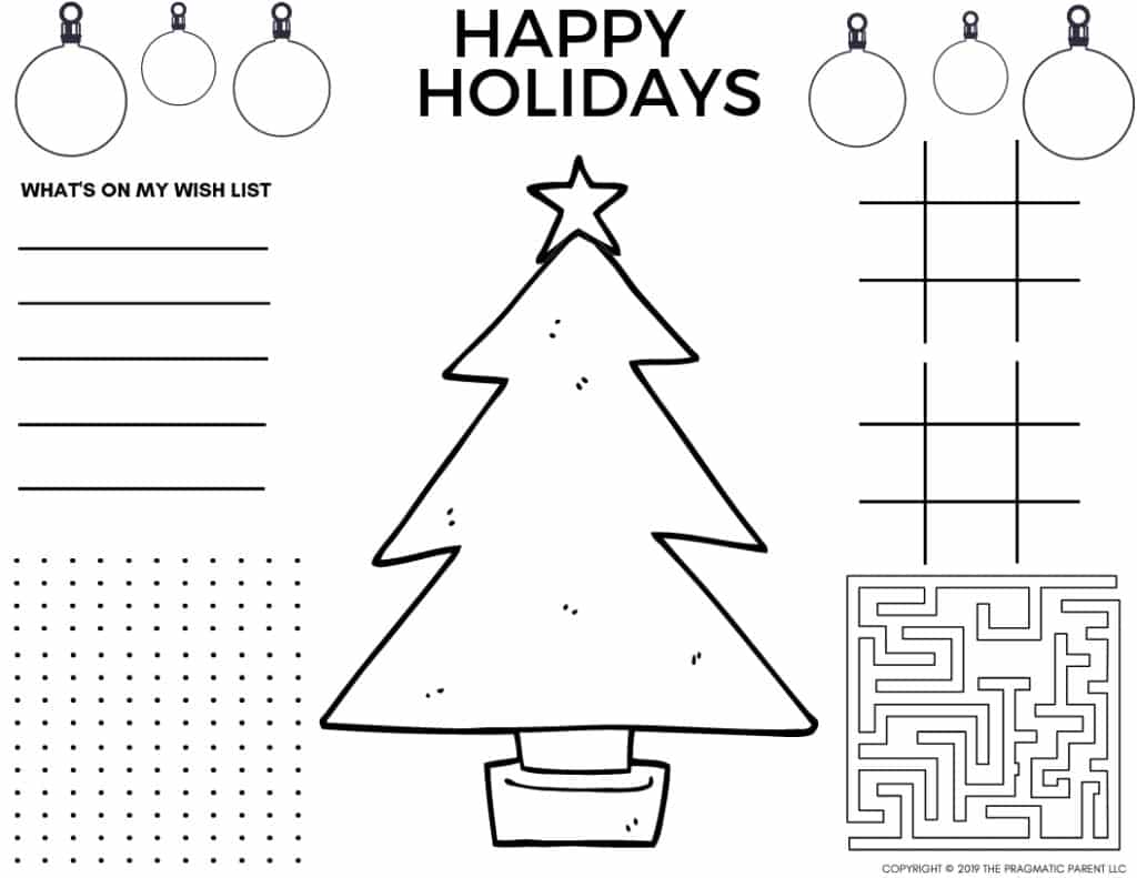 2020 Cute Printable Christmas Coloring Pages Christmas Placemats