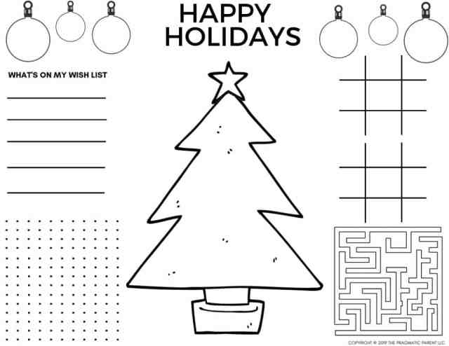 20 - Cute Printable Christmas Coloring Pages & Christmas Placemats