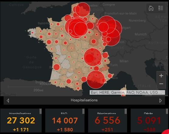 Carte des contaminations coronavirus