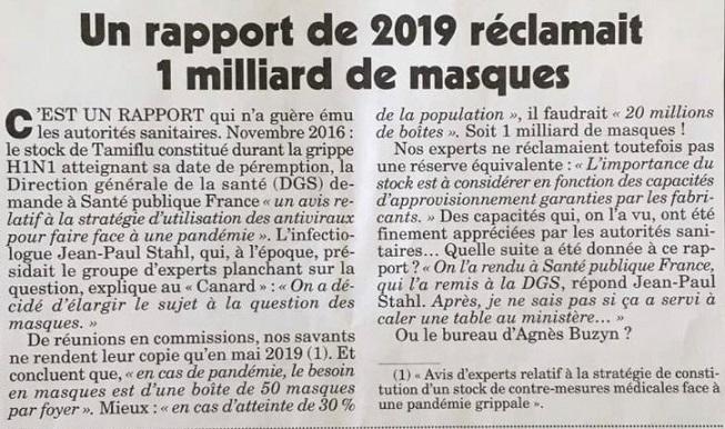 Rapport de 2019 réclamant masques - Le Canard Enchainé