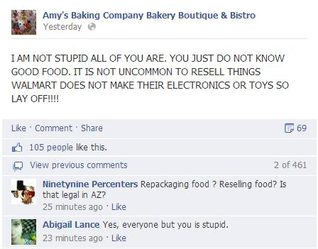 Facebook insults were flying; PR fail results at Amy's Bistro