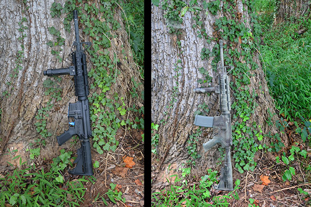 Before and after shot of the Camo paint job on my AR15.