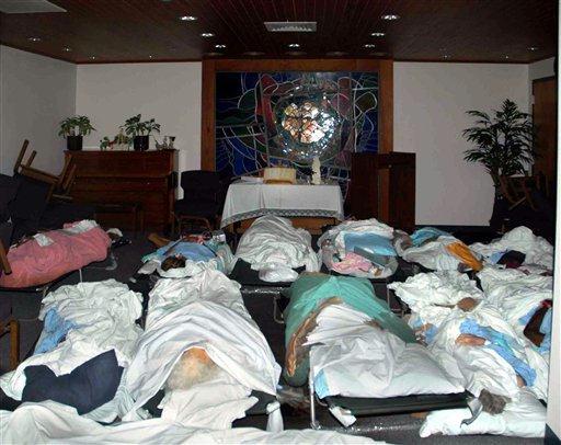 Many dead were found in the chapel.