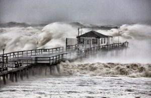 Hurricane Sandy, Ocean Grove Pier -  New Jersey, October 29, 1012 - Photograph by Bob Bowné