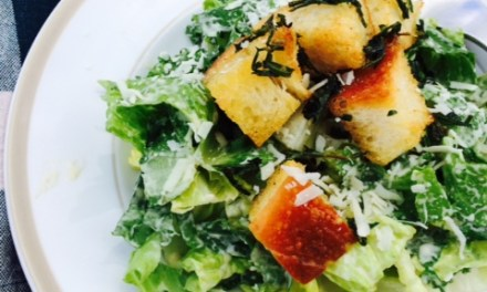 Kale and Romaine Caesar Salad with Herbed Portuguese Bread Croutons