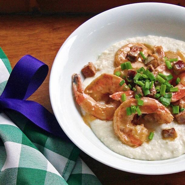 Cajun Shrimp and Asiago Grits