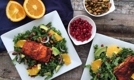 Kale Salad with Roasted Citrus Salmon