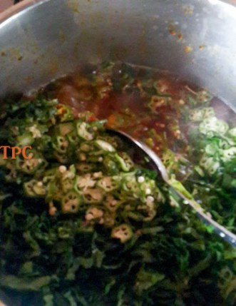 okro being added to okro soup, okra soup