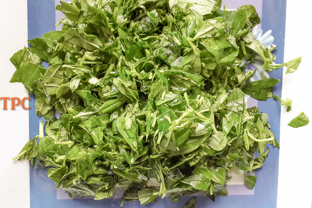 water leaf chopped for afang soup