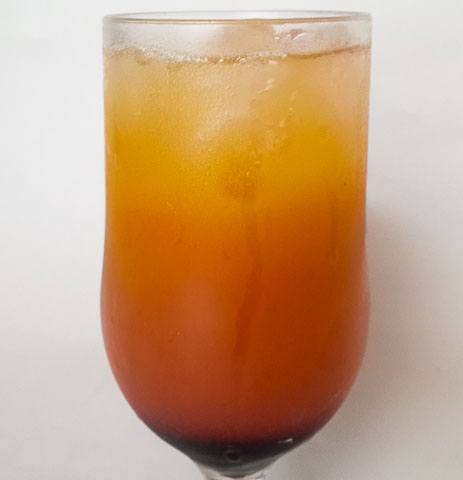 sweet and zesty tropical sunset afterglow mocktail