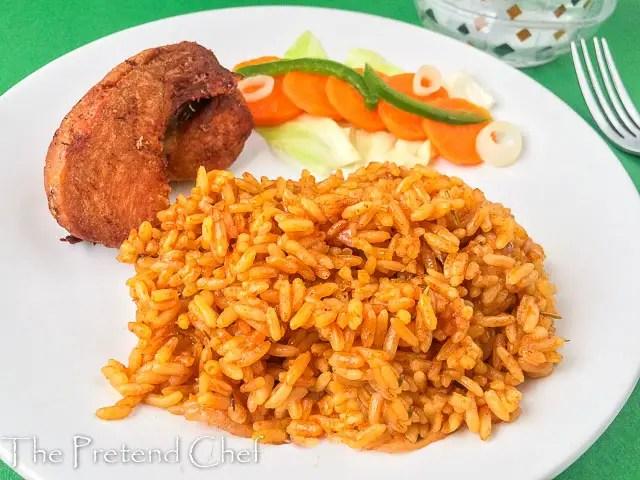 jollof rice, nigerian jollof rice, rice in a plate
