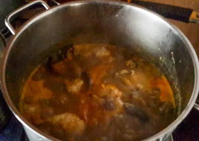 nsala soup bubbling away