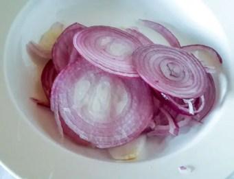 sliced onions for homework