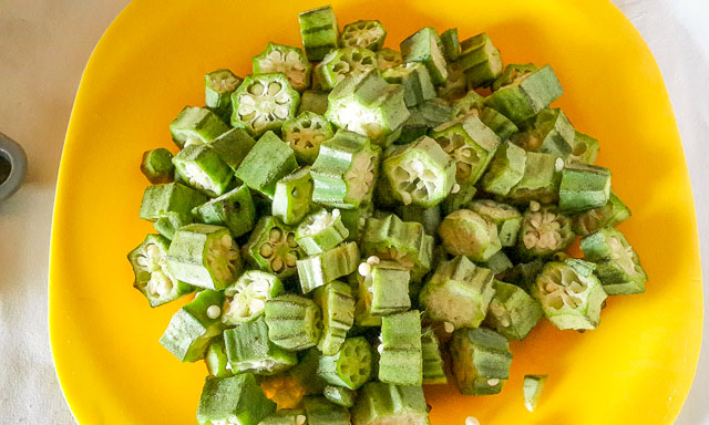 chopped okra ready for ofe ugbogoro