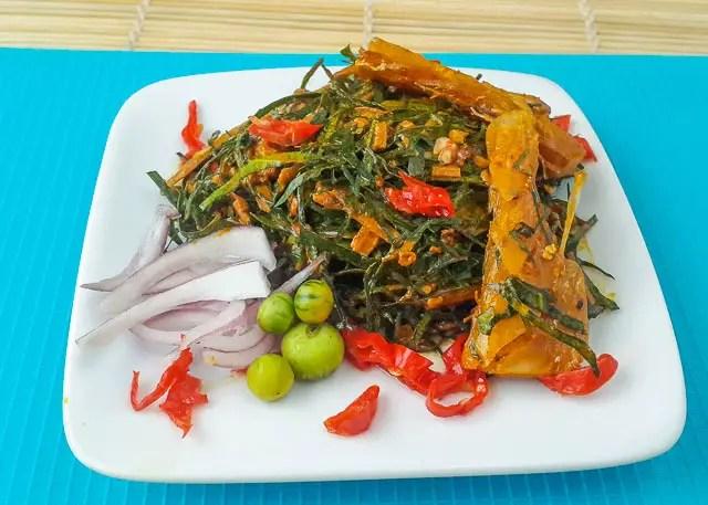 okazi salad (Afang salad)