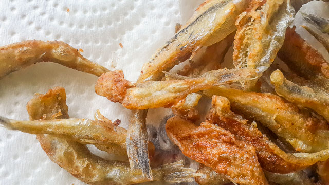 Crunchy, salty and spicy Nigerian crispy fried white bait fish