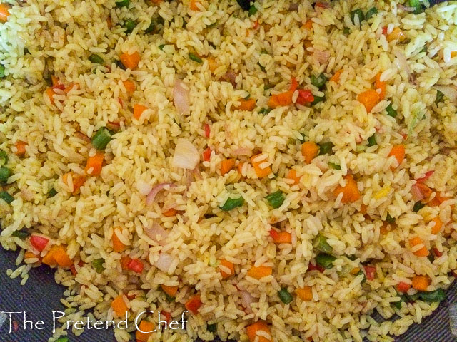 Rice mixed with vegetables for Nigerian stir fried rice-1