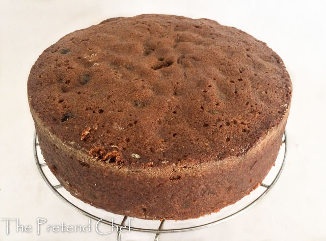 moist fruit cake made on a rack