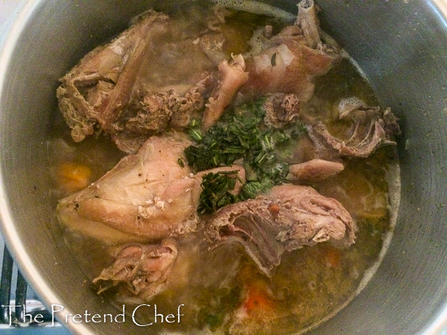chicken pepper soup boiling in a pot