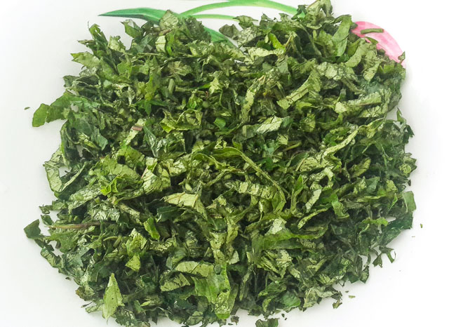 shredded Ugu vegetable for ofe ugu, ugu soup
