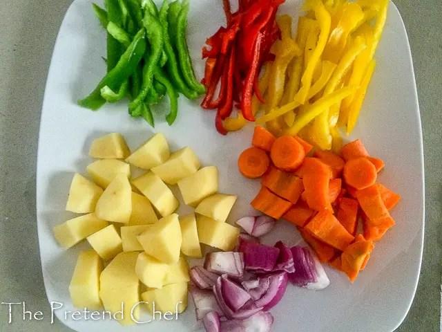 vegetables prepped for Foil baked fish with vegetables