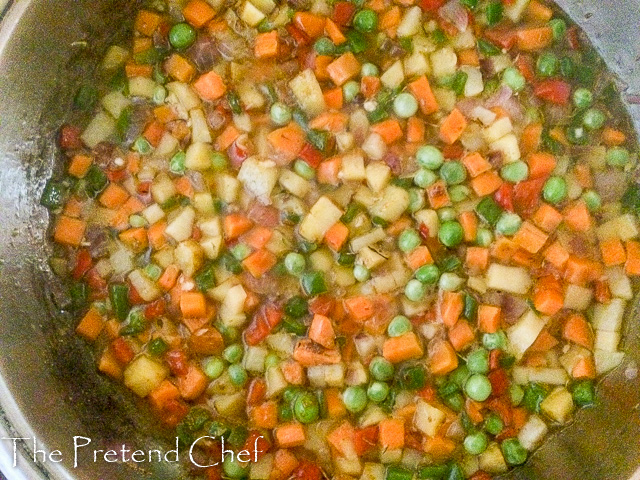vegetables cooking for Nigerian vegetable pie