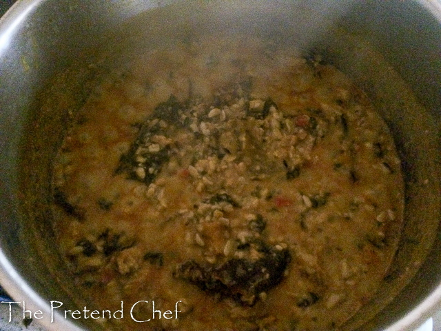 African breadfruit pottage cooking in a pot