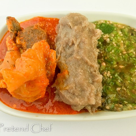 Omi Obe (Stew) and plain okro