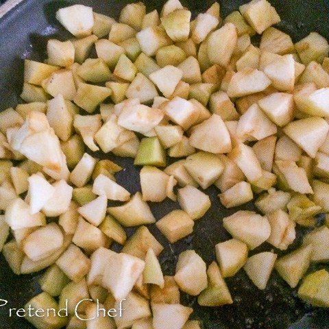 apples frying for easy apple hand pie