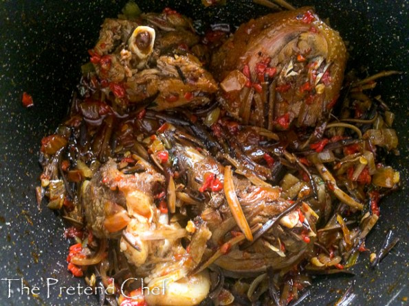 Bushmeat and vegetable cooking
