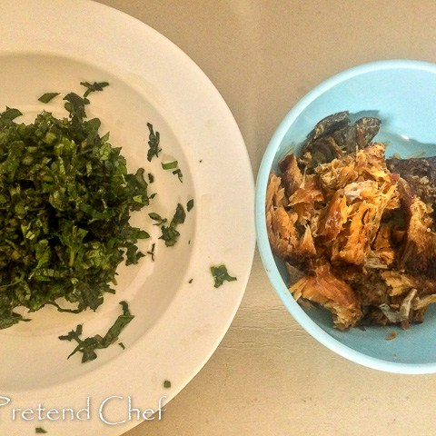 dry fish and vegetable for Oto Mboro, Unripe plantain porridge